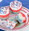 Free Red White And Blue Cupcakes Stock Photography - 25049082
