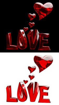 Free Set Of Word LOVE With Hearts Royalty Free Stock Images - 25041319