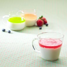 Cups Of Yoghurt Royalty Free Stock Images