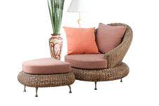 Free Rattan Sofa And Stool Royalty Free Stock Photography - 25043887