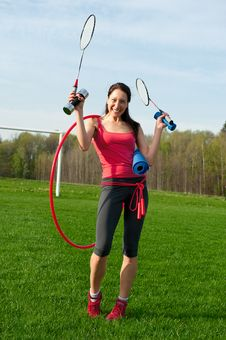 Free Woman With Sport Equipments Stock Images - 25046124
