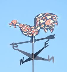 Cock Decorative On Roof Of Arrow. Weather Vane Royalty Free Stock Images