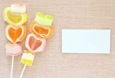 Free Jelly Candy Stick And White Paper Label Royalty Free Stock Photos - 25048918