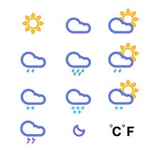 Free Color Weather Conditon Icons Collection Stock Photo - 25049840