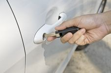 Inserting Car Key Stock Image