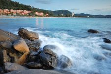 Stones In The Waves On Ocean Coast Royalty Free Stock Photography
