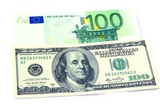 Free Banknotes Of 100 Dollars And 100 Euro Stock Photography - 25054972