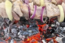 Tasty Grill Kebab On A Glowing Charcoal Royalty Free Stock Images