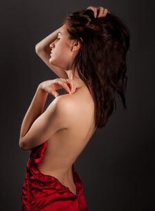 Free Slender Woman In Open Back Dress Stock Photos - 25056813