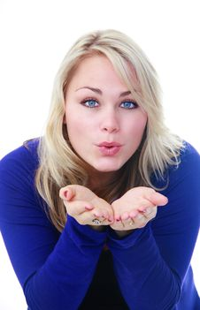 Free Woman Blowing Royalty Free Stock Photography - 25058267