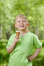 Free Young Boy Eating A Tasty Ice Cream Outdoor Stock Photo - 25061570