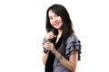 Free Karaoke Singer On A White Background. Royalty Free Stock Images - 25061889