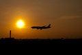 Free Silhouette Landing Airplane Stock Photos - 25066613