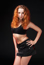 Free Redhead Girl In A Black Bra Royalty Free Stock Images - 25067129