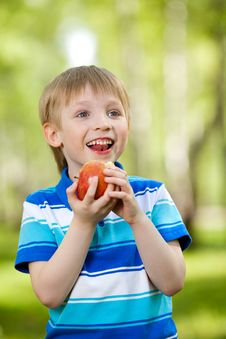 Free Kid Holding Healthy Food Apple Outdoor Stock Photo - 25060340