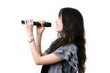 Free Karaoke Singer On A White Background. Stock Photography - 25061932