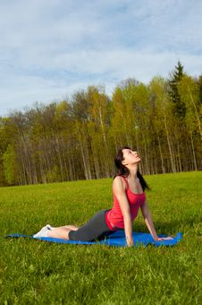 Free Yoga In The Park. Cobra Royalty Free Stock Photo - 25063865