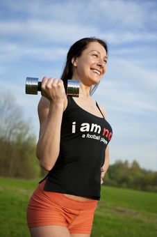 Free Woman Working With Dumbbell Stock Photography - 25067292
