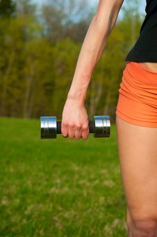 Free Woman Working With Dumbbell Stock Image - 25067311
