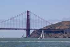 Free Sailing The Golden Gate Royalty Free Stock Photo - 25071765