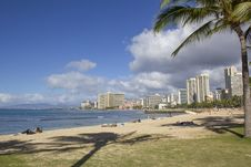 Free Waikiki Skyline And Beach Royalty Free Stock Photography - 25071857