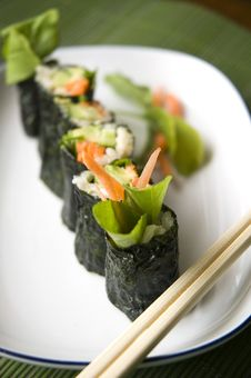 Close Up Vegetarian Sushi Stock Images