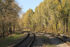 Free Railroad Turns To The Left Royalty Free Stock Image - 25089326