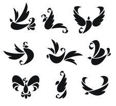 Nine Silhouettes Of Birds Stock Photos