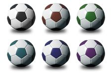 Free Colorful 3D Soccer Balls On White Background Royalty Free Stock Image - 25093016