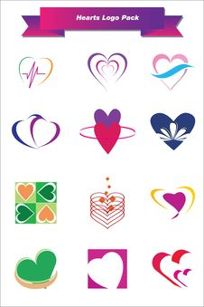 Free Hearts Logo Pack Royalty Free Stock Photography - 25094577