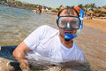 Free Man With Snorkel In Mouth Stock Photos - 2514023