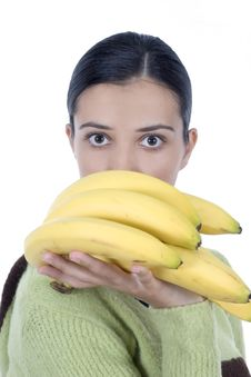 Free Girl With Bananas Royalty Free Stock Photography - 2512017