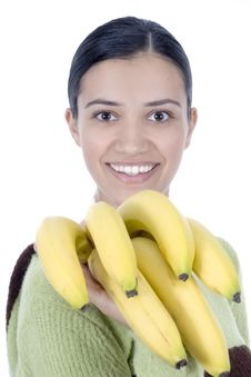 Free Girl With Bananas Royalty Free Stock Images - 2512089