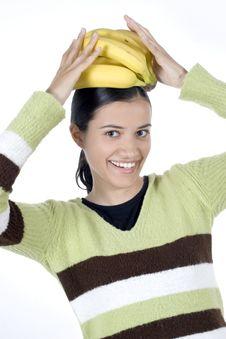 Free Girl With Bananas Royalty Free Stock Photos - 2512098