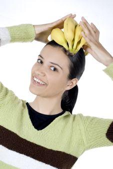 Free Girl With Bananas Stock Photography - 2512112