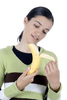 Free Girl With Banana Stock Photo - 2512180