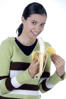 Free Girl With Banana Royalty Free Stock Photos - 2512188