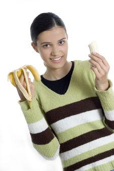 Free Girl With Banana Royalty Free Stock Photo - 2512275
