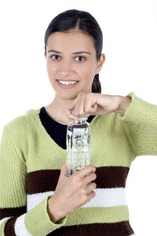 Free Girl With Bottle Of Water Stock Photography - 2512482