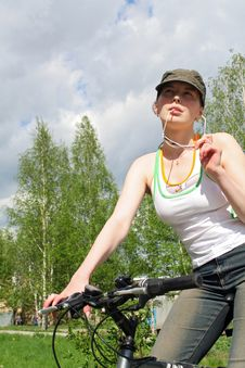 Biker Girl Resting Stock Photo