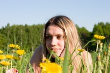 Girl On Glade Stock Images