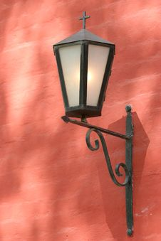Free Church Lantern On Red Wall Stock Photography - 2516722