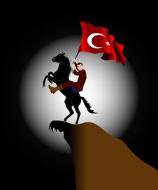 Free Turkey Flag And Horse&rider2 Royalty Free Stock Photo - 2516975