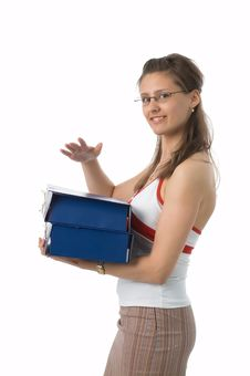 Free The Girl With Folders Stock Image - 2517021