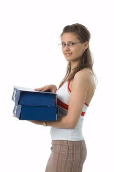 The Girl With Folders Stock Photography