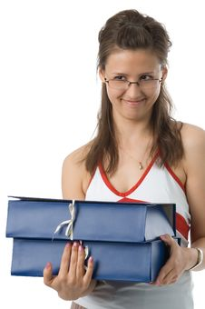 Free The Girl With Folders Royalty Free Stock Image - 2517026