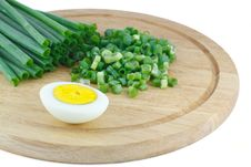 Free Green Onions And Half Of The Eggs Stock Photos - 25104623
