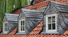 Free Three Slate Dormer Windows Stock Photography - 25109692