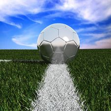 Free Silver Soccer Ball In The Grass Royalty Free Stock Photo - 25113875