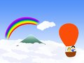 Free Hot Air Ballon Going Over The Rainbow Royalty Free Stock Photography - 25122797